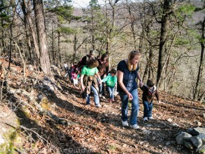 4-H'ers Hiking on Hickory Nut Mountain