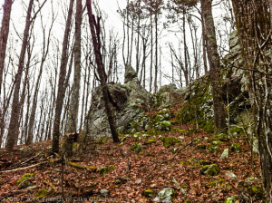 """Balanced Rock"" atop a large outcropping along the new Section 8 from Brady Mountain Road to Blakely Dam."