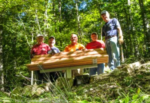Traildogs Jerry, John, Robert, Dan, and Al with the new bench just east of Brady Mountain Road.