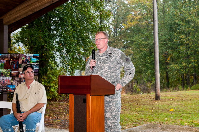 Col. John Cross of the US Army Corps of Engineers recognizes the huge volunteer effort involved in the creation of the LOViT and called attention to the Lake Ouachita Citizens Focus Committee under which the management of the Trail operates.