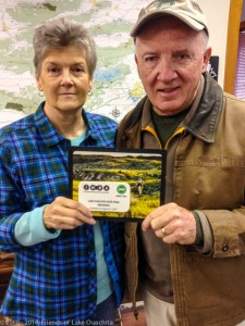 IMBA plaque designating the LOViT as an Epic Trail, presented to Gloria Chrismer of the US Forest Service on Dec 31, 2014. The plaque is hanging in the Womble Visitor Center above the trail brochure rack.