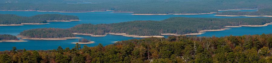 View from Lake Ouachita Vista on Hickory Nut Mountain