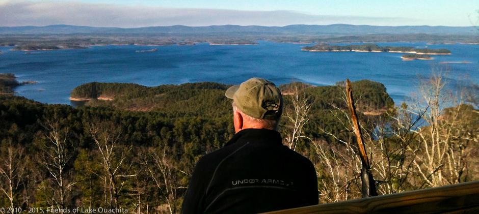 View of Lake Ouachita from Traildog Vista on Bear Mountain.