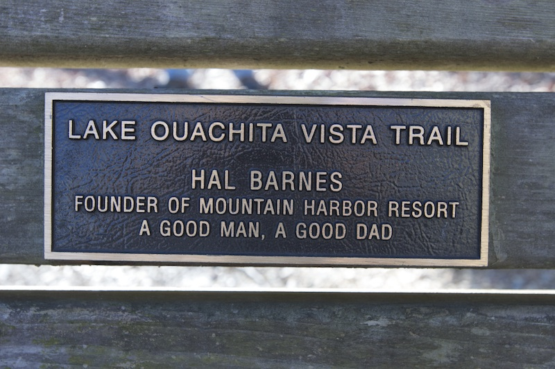 Plaque for the Hal Barnes Bench on the Tompkins Bend Trail Segment