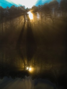 Sun filters through the trees and fog and reflects off of Lake Ouachita