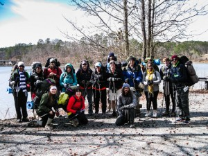 A group of hikers from Delta State University in Mississippi ready to depart from Denby Bay to Hickory Nut Mountain.