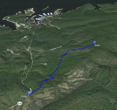 The MotionX GPS program also generates a .kmz file that can be opened in Google Earth to produce this view of today's track.
