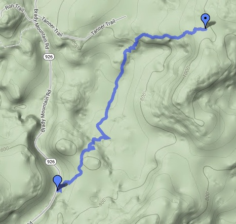 The walk out from our stopping place today back to Brady Mountain Road as recorded by MotionX GPS on an iPhone.