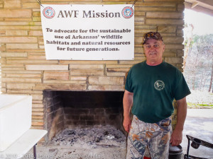 Wayne Shewmake of the Arkansas Wildlife Federation is a great cook. Note the open fireplace and the Dutch oven behind him. With these simple tools he created an outstanding lunch. Thanks Wayne!