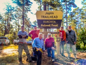 Traildogs Jeremy, Dan, John, Jerry, Chuck, and Robert show off the new Joplin Trailhead sign.  Many thanks to the U.S. Forest Service for providing these signs.