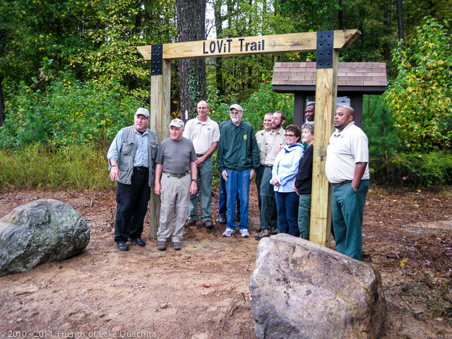 Current and past US Forest Service employees join the Traildogs at the Avery Recreation Area Trailhead for the Oct. 28, 2014, Dedication for the completed Trail.