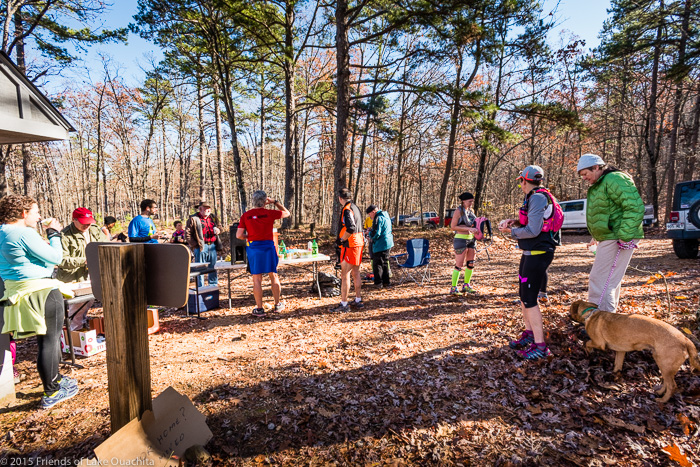 Runners gather at the LOViT Marathon aid station atop Hickory Nut Mountain.