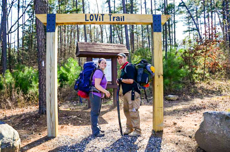 Mara and Jacob at the Avery Trailhead, the easternmost terminus of the Lake Ouachita Vista Trail.