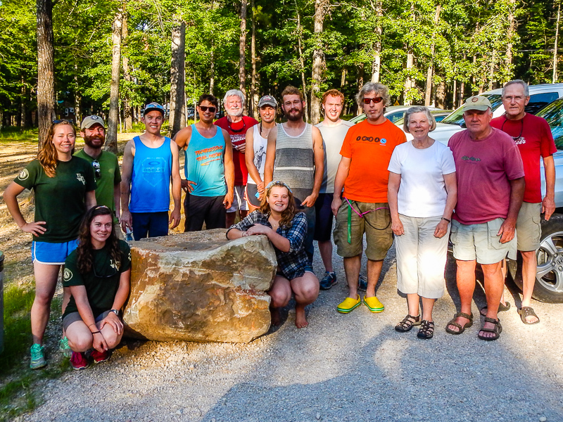The IMBA and Texas Conservation Corps joins the Traildogs for a picnic at the new Friends of Lake Ouachita-sponsored pavilion at Tompkins Bend Campground.